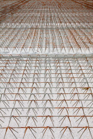 on rebar: detail of wire of steel rebar to road construction Stock Photo