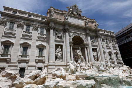 Rome, Italy: The Trevi Fountain, Italian: Fontana di Trevi. It is designed by Italian architect Nicola Salvi and completed by Pietro Bracci. The largest baroque fountain in the city. Stock Photo