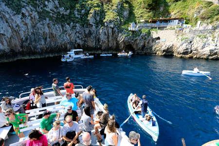 capri: CAPRI, ITALY - MAY 23, 1916 - grotto azzurra ( blue cave ) on coast of island of capri, italy Editorial