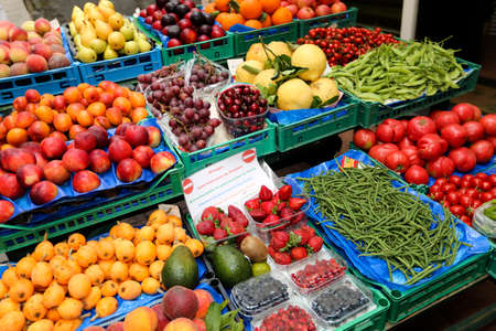 plum island: stand of fruits and greens in capri, italy Stock Photo