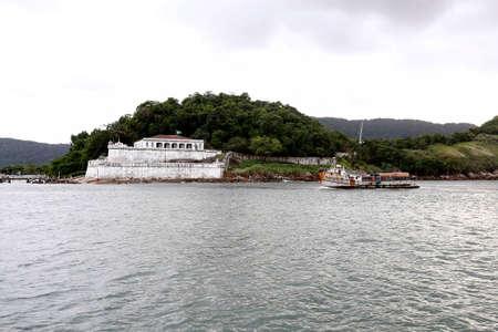 defend: Fortress of barra grande built to defend of brazilian coast in 1584 guaruja, brazil, nov 30, 2016  Stock Photo
