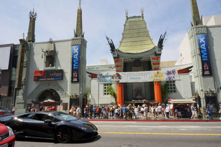 Hollywood boulevard: LOS ANGELES, CALIFORNIA, USA - JUN 01, 2015 - tourist in chinese theater in hollywood boulevard