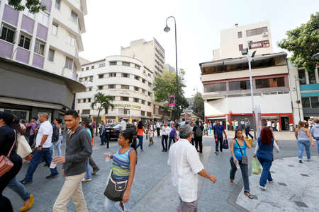 CARACAS, VENEZUELA - MAY 06, 2014 - view of downtown with people walking