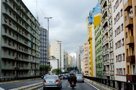 SAO PAULO, SP, BRAZIL - APRIL 08, 2014 - The famous Minhocao - elevado joao goulart) in Sao Paulo, Brazi Editorial