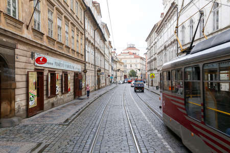 tramway: Prague, Czech Republic - may 31, 2017 - view of downtown of Prague with urban train