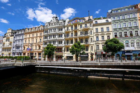 Jun 01, 2017 - River and Promenade street in Karlovy Vary, spa town situated in western Bohemia, Czech Republic Editorial