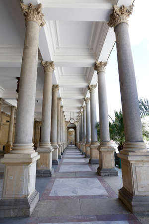 colonade: Mill Colonade, Neo-Renaissance structure with Corinthian columns in spa Karlovy Vary in Czech Republic