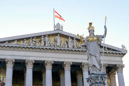 austria flag: Vienna Parliament Building in the Greek-Roman style with the Pallas Athene statue in the front