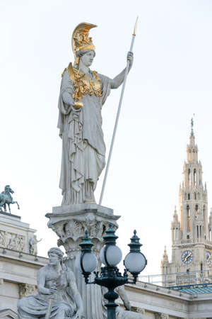 Vienna Parliament Building in the Greek-Roman style with the Pallas Athene statue in the front