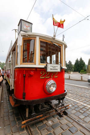 tramway: Prague, Czech Republic - may 31, 2017 - old tourist train on street of Prague