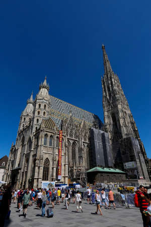 stephen: VIENNA, AUSTRIA - MAY 29, 2017 - St Stephens Cathedral in Vienna, Austria. Its current Romanesque and Gothic form seen today, situated in the Stephansplatz Editorial