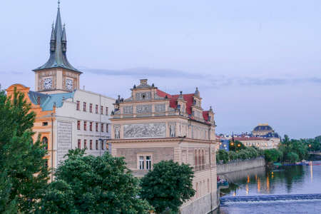 View of historics buildings and Vltava River in old downtown of Prague