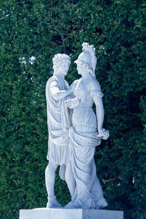 Statue in Great Parterre garden on Schonbrunn Palace in Vienna, Austria