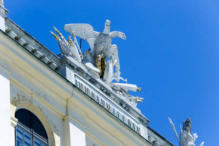 detail of facade of famous Schonbrunn Palace in Vienna, Austria
