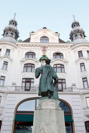 johannes: view of  Johannes Gutenberg memorial in Vienna, Austria Stock Photo