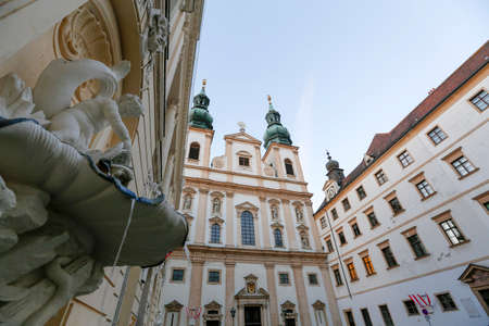 baroque: Facade of Jesuit Church or University Church on Dr Ignaz Seipel Platz in Vienna, Austria Editorial