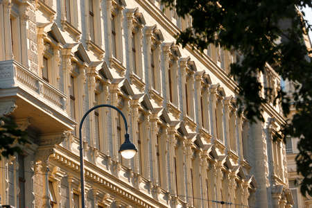 baroque: The facade of a baroque building in Vienna (Austria) is decorated with sculptured patterns Stock Photo