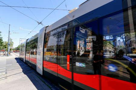Vienna, Austria - may 28 - 2017 electric public tram in downtown Vienna