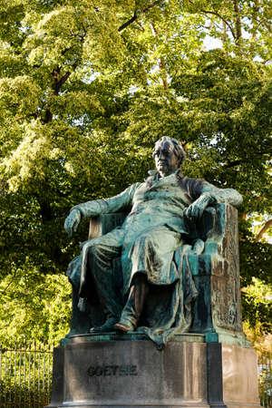 Statue of the famous German writer Johann Wolfgang von Goethe outside the Burggarten in Vienna, Austria Editorial