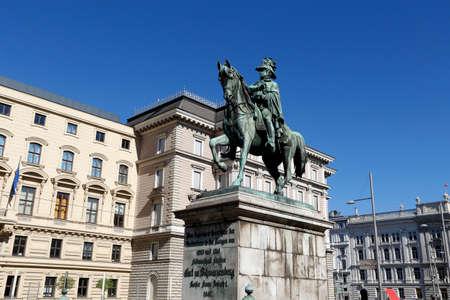 Carl Schwartzenberg marshal statue in Vienna the capital city of Austria Editorial
