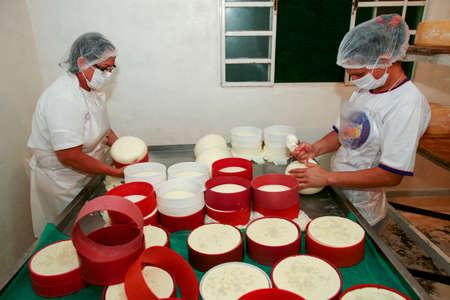 creamery: Serra da Canastra, Minas Gerais, Brazil - may 01, 2010 - family factory of the traditional and artisanal cheese from the serra da canastra, countryside of Minas Geraes, Brazil