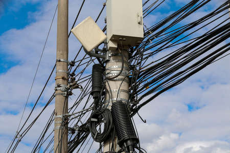 cable tangle: Messy cable distribution of transformer and electricity line on Alphaville, Sao Paulo, Brazil