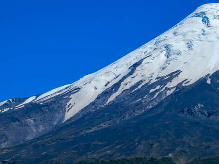 Osorno Volcano with its snow peak in Puerto Varas, south of Chile. Stock Photo