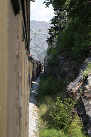 SKAGWAY, ALASKA, USA - JUly 2018 - Alaskan Canadian White Pass train ride attraction through british columbia canadian rocky mountains