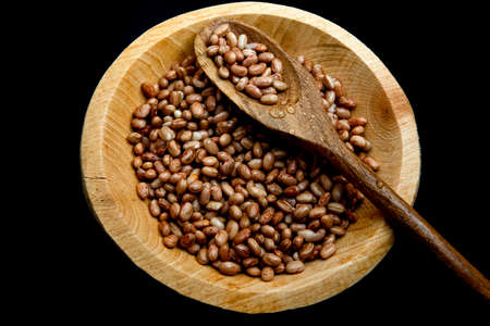 Phaseolus vulgaris is scientific name of Pinto Bean legume. Also known as Frijol Pinto and Feijao Carioca. black background. Grains in wooden spoon.