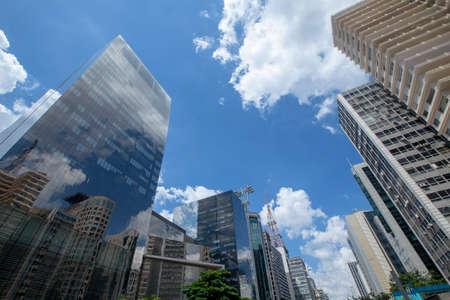 View of skyscrapers along Avenida Paulista in Sao Paulo, Brazil on sunny day