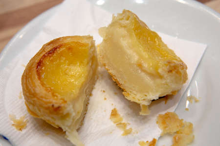 Portuguese Custard Tarts Pastel de Nata or de Belem. A close-up of traditional Portuguese custard pastries that consists of custard in a creme brulee on puff pastry case