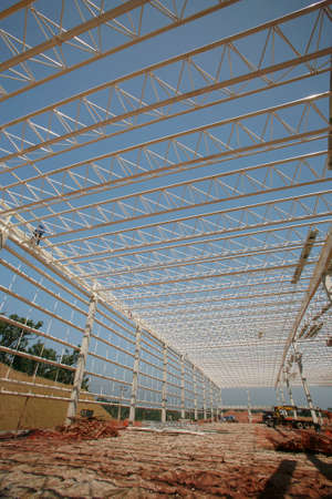 structure of steel on industrial warehous in construction Zdjęcie Seryjne