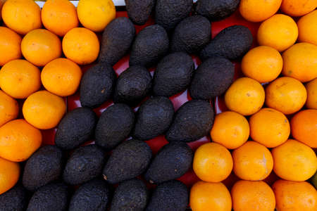 Detail of  fruit stall at the open air market in Marrakesh, Morocco. Jema El Fna market square.