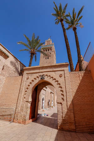 Minaret Tower of Kasbah Mosque in Marrakesh, Marrakesh-Safi, Morocco Standard-Bild - 129720616