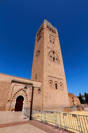 Minaret Tower of Kasbah Mosque in Marrakesh, Marrakesh-Safi, Morocco Standard-Bild - 129720618