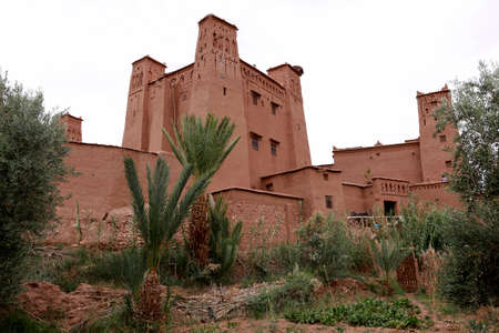 Fortified City (Ksar) with Mud Houses in the Kasbah Ait Ben Haddou near Ouarzazate in the Atlas Mountains of Morocco. UNESCO World Heritage Site since 1987. Several films have been shot there