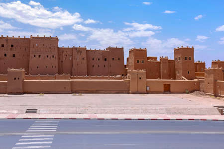 Frontside of Kasbah Taourirt, former fortress palace mud-built in the village of Ouarzazate. It is dubbed the
