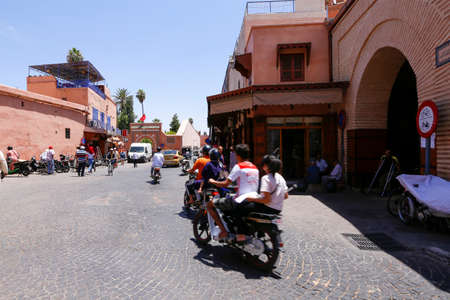Marrakech, Morocco - may 27, 2019: people in street on medina (old town) of Marrakech.