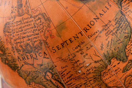 Detail of a vintage globe map showing America