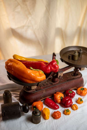 multicolored peppers on old scale plate on the table with white wrinkled tablecloth and small peppers and weights. written in Portuguese on the scale; maximum load 10 kg