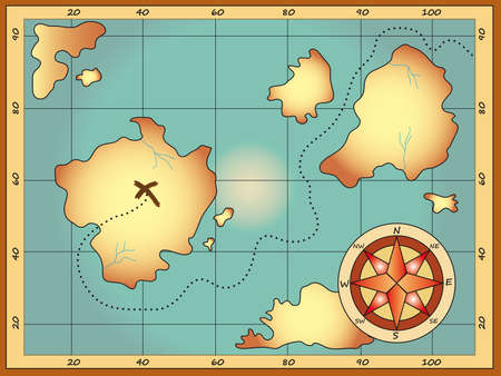 isla del tesoro: antiguo mapa del tesoro