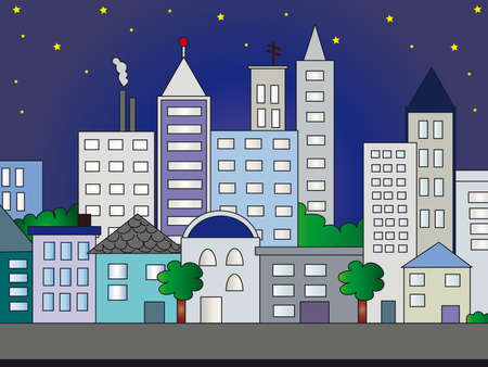 city illustration by night illustration