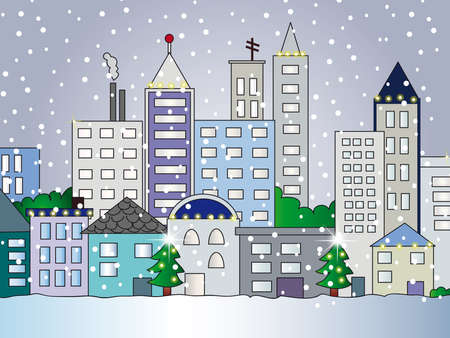 city illustration in winter illustration