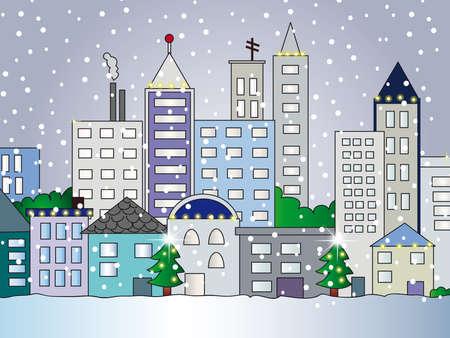 city illustration in winter Stock Illustration - 13802773