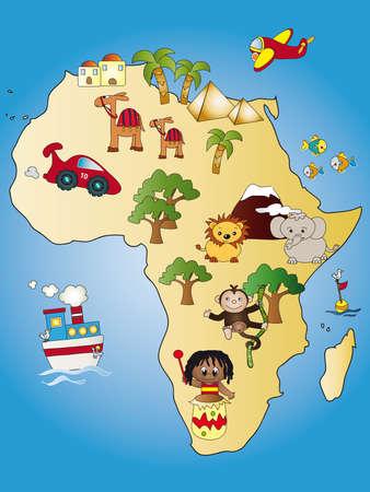 animales del desierto: Mapa de África