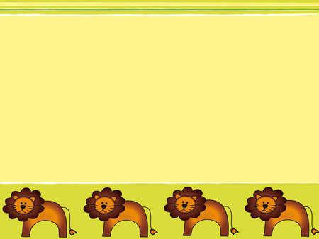 leon de dibujos animados: los niños de tarjetas Foto de archivo