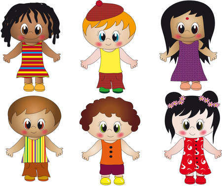 multi racial: children illustration