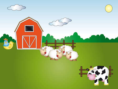 ewe: farm cartoon