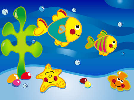 sub tropical: seascape cartoon