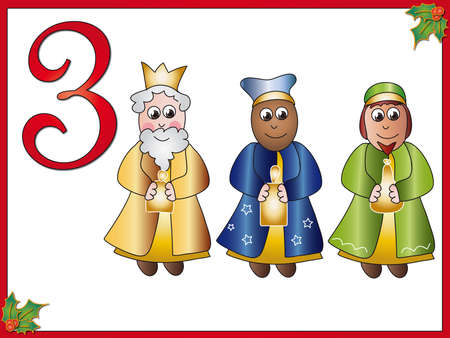 12 days of christmas: 12 days of christmas  3 kings Stock Photo